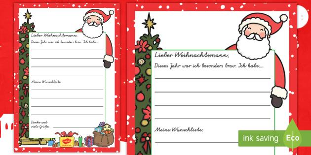 wunschliste an den weihnachtsmann schreibvorlage german. Black Bedroom Furniture Sets. Home Design Ideas