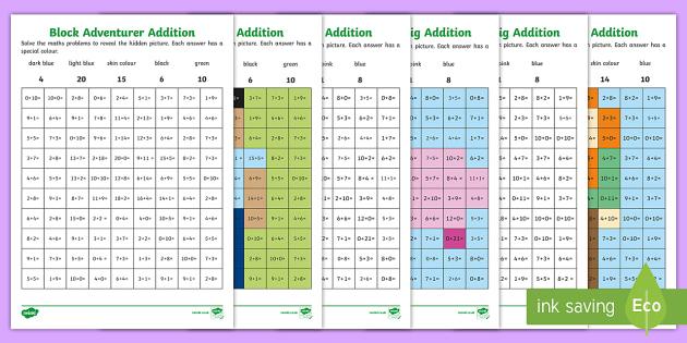 KS1 Block Adventurer Addition Mosaic Activity Sheets - Minecraft, Block Adventurer, Key Stage One, KS1, Year 1, Year 2, Maths, Number, Addition, Adding, Pl