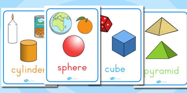 Shape Posters with Everyday Examples - maths, 2d, objects, items, compare, find,
