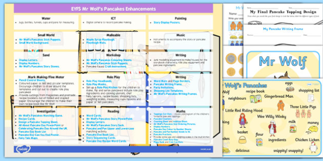 EYFS Enhancement Ideas and Resources Pack to Support Teaching on Mr Wolfs Pancakes - Early Years, continuous provision, early years planning, adult led, Mr Wolf's Pancakes, Jan Fearnley, Pancake Day, Shrove Tuesday, planning