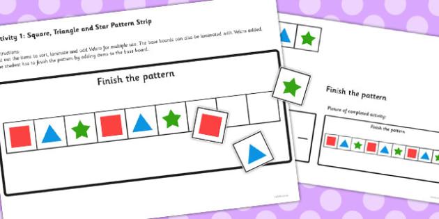 Workstation Pack Shape Pattern Activities Set 2 - teacch
