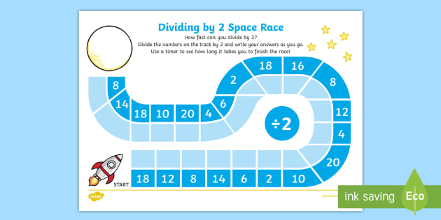 Dividing by 2 Space Race Worksheet / Activity Sheet