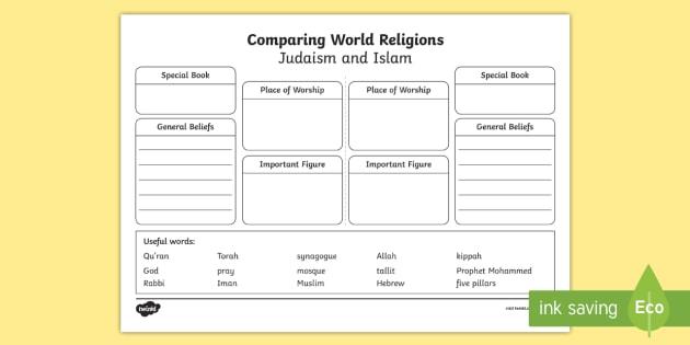 compare islam and judaism worksheet activity sheet ks1. Black Bedroom Furniture Sets. Home Design Ideas