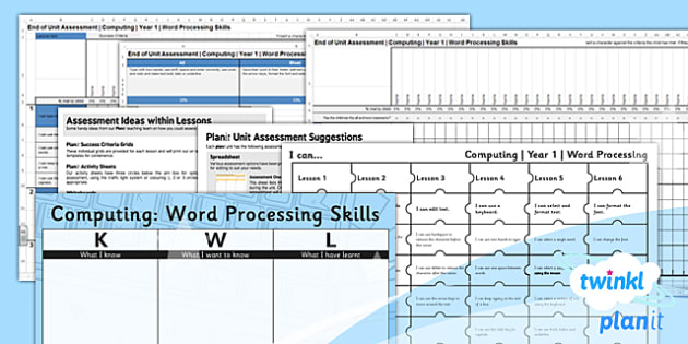 Computing: Word Processing Skills Year 1 Unit Assessment Pack