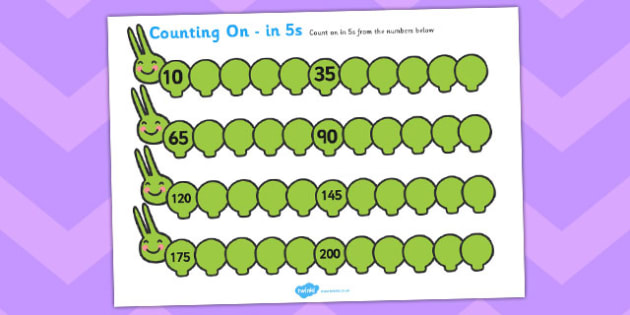 Counting On Worksheets Caterpillar (in 5s) - Counting worksheet, Counting, counting in 5s, activity, how many, foundation numeracy, Counting on, Counting back, caterpillar