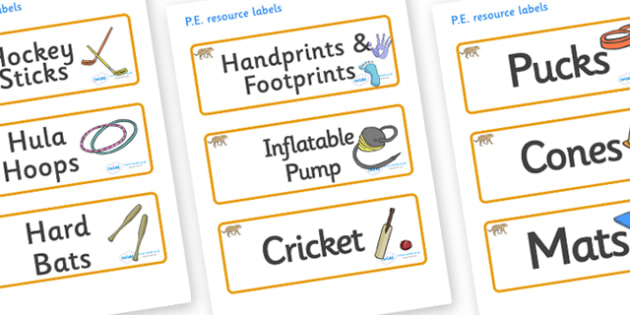 Leopard Themed Editable PE Resource Labels - Themed PE label, PE equipment, PE, physical education, PE cupboard, PE, physical development, quoits, cones, bats, balls, Resource Label, Editable Labels, KS1 Labels, Foundation Labels, Foundation Stage La