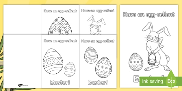 Roi Easter Greetings Colouring Gift Card Template  Roi