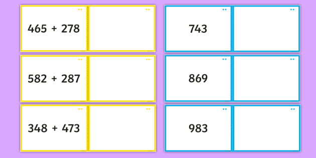 Adding 2 Three-Digit Numbers Matching Cards - Addition and Subtraction, add, more, plus, and, make, altogether, total, equal to, equals, double, m