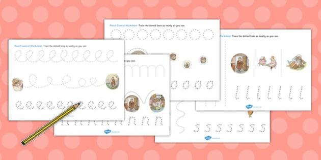 The Tale of Mrs Tiggy Winkle Pencil Control Sheets - mrs tiggy winkle