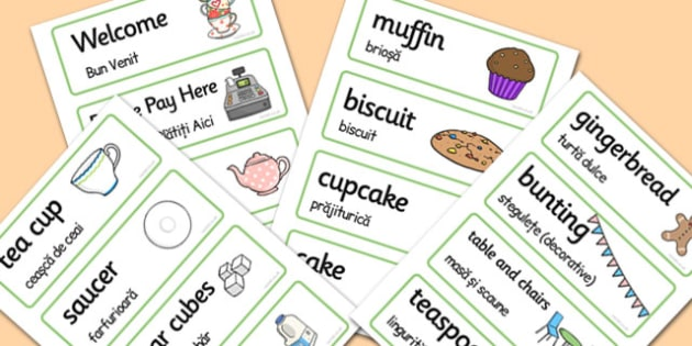 Romanian Translation Tea Shop Role Play Word Cards - arabic