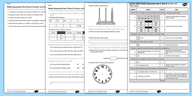 Year 3 Maths Assessment: Number and Place Value Term 3 - year 3, maths, assessment, number, place value