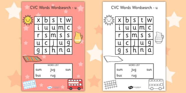 CVC Wordsearch u - word search, word games, find the word, CVC