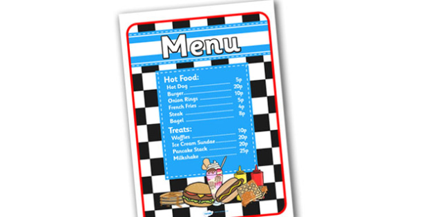 American Diner Role Play Menu In Pence-american diner, role play, menu, diner menu, role play menu, american diner role play, pence, pounds