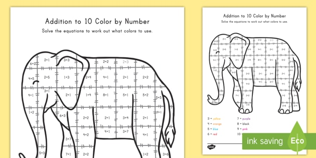 Addition To 10: Elephant Color By Number Math Worksheet