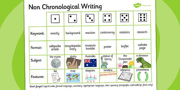 non chronological writing dice activity esl writing