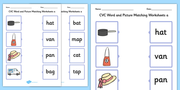 CVC Word and Picture Matching Worksheets a - cvc, matching, a