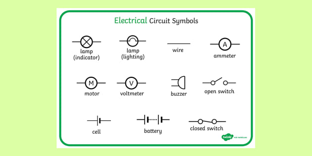electricity circuit symbols word mat electricity circuit rh twinkl co uk symbols of hydraulic circuits symbols of electricity circuits