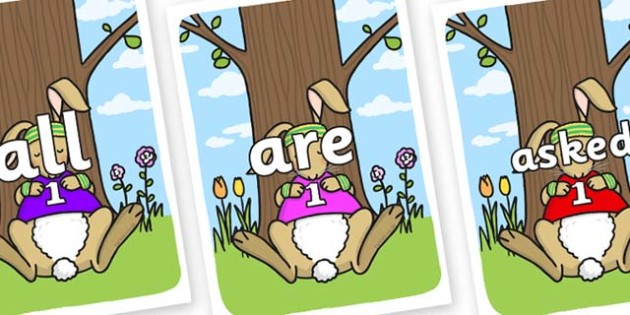 Tricky Words on Sleeping Hare - Tricky words, DfES Letters and Sounds, Letters and sounds, display, words