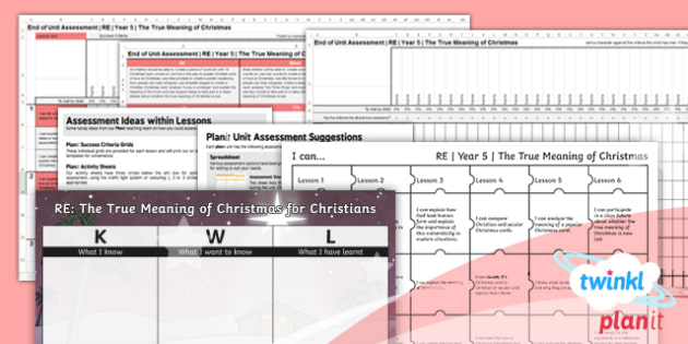 RE: The True Meaning of Christmas for Christians Year 5 Unit Assessment Pack