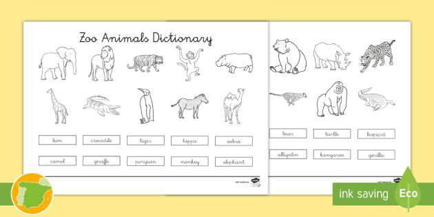 A2 Diccionario para colorear: Animales del zoo en inglés