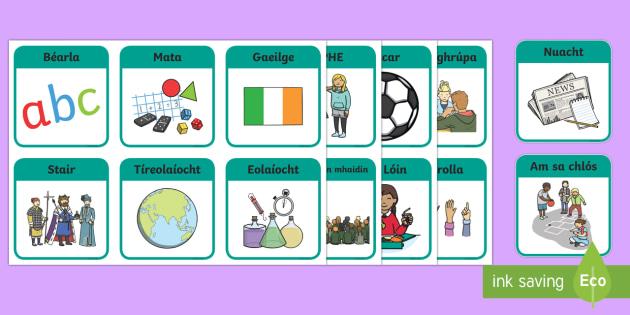 Daily Visual Timetable Signs and Labels Gaeilge - Gaeilge KS1 Display, Bearla, Mata, Ceol, Eolaíocht , school subjects, irish, irish language, Irish