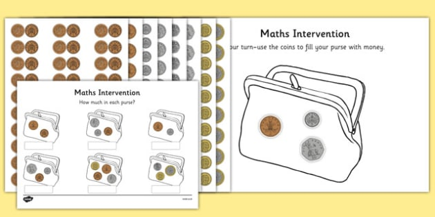 maths intervention purse coins sen special needs maths. Black Bedroom Furniture Sets. Home Design Ideas