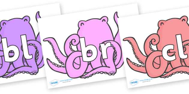 Initial Letter Blends on Octopus to Support Teaching on The Rainbow Fish - Initial Letters, initial letter, letter blend, letter blends, consonant, consonants, digraph, trigraph, literacy, alphabet, letters, foundation stage literacy