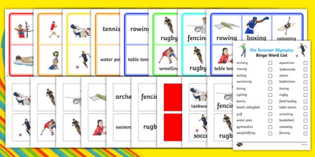 Rio Summer Olympics Bingo - usa, america, rio olympics, rio 2016, 2016 olympics, summer olympics, bingo, activity, game