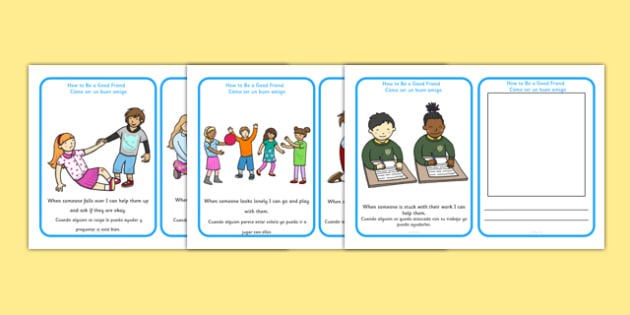 How To Be A Good Friend Cards Spanish Translation - spanish, how to be a good friend, friendship, friends, cards, flashcards, good, behaviour, friend, relationship