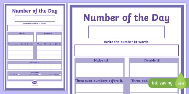 Number of the Day Challenge Display Poster-Scottish
