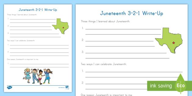 Juneteenth 3 2 1 Writing Worksheet Summarizing Emancipation