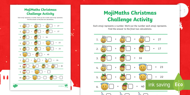 Christmas Challenge.Lks2 Mojimaths Christmas Challenge Worksheet Problem