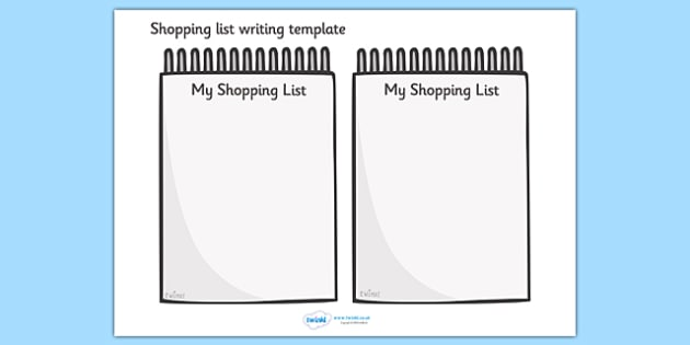 Shopping List Writing Template  Blank Shopping List Templates