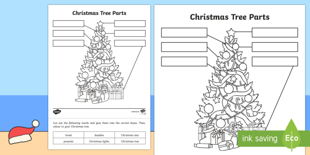 Christmas Tree Parts Worksheet / Activity Sheet