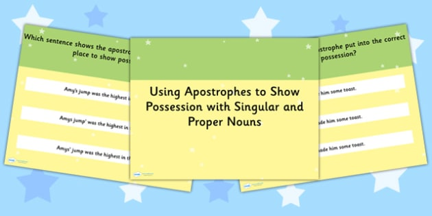 Using an Apostrophe of Possession with Nouns SPaG PowerPoint