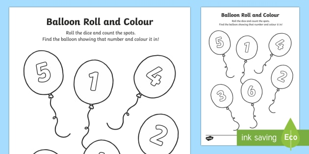 Balloon Roll and Colour Worksheet / Activity Sheet - EYFS ...