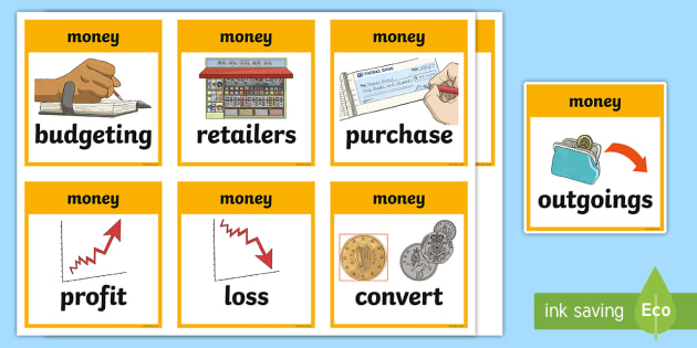 CfE Second Level Numeracy and Mathematics Money Keyword Flashcards - Wall Display, keywords, MNU 2-09a, MNU 2-09b, MNU 2-09c language of maths, vocabulary, word wall,Sco