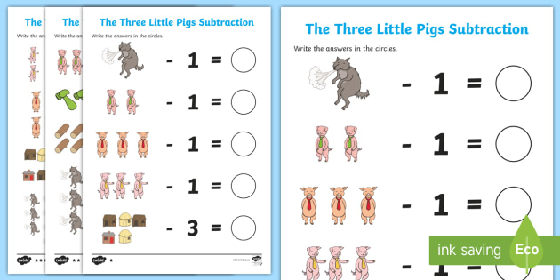 the three little pigs subtraction worksheet worksheet the three little. Black Bedroom Furniture Sets. Home Design Ideas