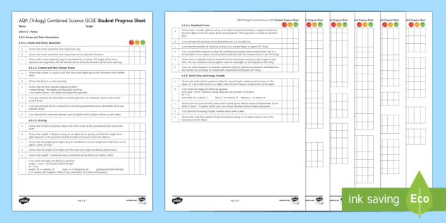 AQA (Trilogy) Unit 6.5 Forces Student Progress Sheet - Student Progress Sheets, AQA, RAG sheet, Unit 6.5 Forces