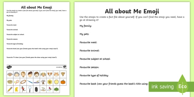 image regarding All About Me Printable Worksheets named KS2 Emoji All regarding Me Worksheet / Worksheet - ourselves