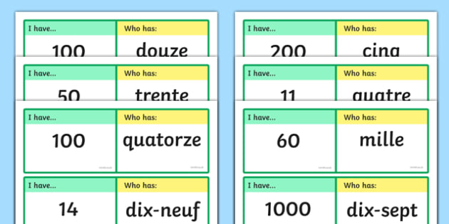 English In Italian: French Number Loop Cards 0 1000