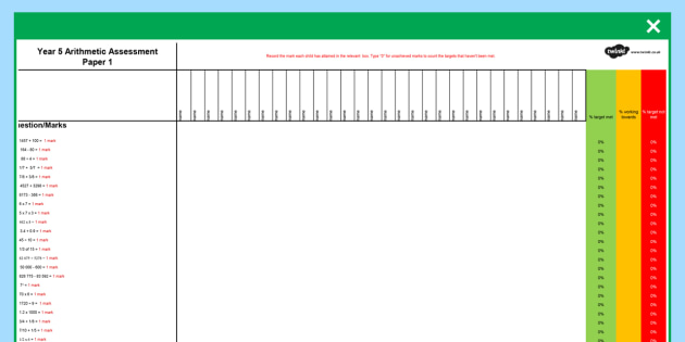 Year 5 Arithmetic Full Practise Tests Assessment Spreadsheet - year 5, arithmetic, full, practise tests, assessment spreadsheet