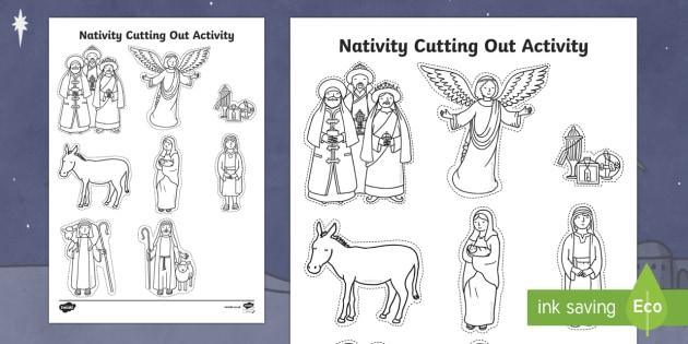 Nativity Cutting Out Activity - Christmas, Nativity, Jesus, xmas, Xmas, Father Christmas, Santa, scissor skills, fine motor skills
