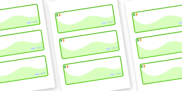 Ireland Themed Editable Drawer-Peg-Name Labels (Colourful) - Themed Classroom Label Templates, Resource Labels, Name Labels, Editable Labels, Drawer Labels, Coat Peg Labels, Peg Label, KS1 Labels, Foundation Labels, Foundation Stage Labels, Teaching