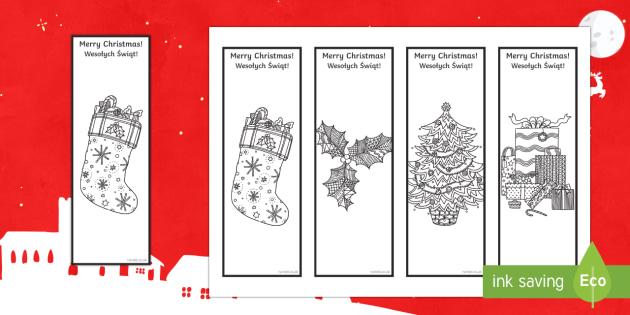 Christmas Mindfulness Bookmarks English/Polish - Christmas, Nativity, Jesus, xmas, Xmas, Father Christmas, Santa, bookmark, mindfulness,Polish-transl