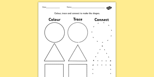 2D Shape Color Trace And Join The Dots