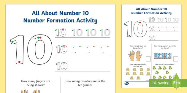 All About Number 10 Number Formation Worksheet