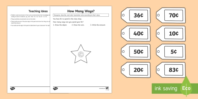 Recognise Describe And Use Australian Money Worksheet