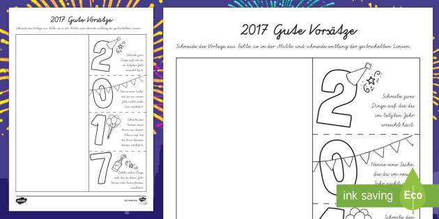 2017 Gute Vorsätze Schreibvorlage-German - Silvester, Neue