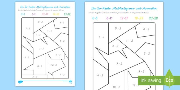 Die 2er Reihe: Multiplizieren und Ausmalen Arbeitsblatt - Die